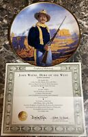 """John Wayne Hero of the West"" Collector Plate Franklin Mint 8 1/4"" Vintage COA"