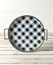 Black White Buffalo Check Tabletop Serving Tray Country Farmhouse Kitchen Decor