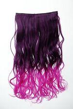 EXTENSION CHEVEUX CLIP-IN 5 AGRAFE bouclée bicolore ombre Violet 50cm long