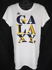 LA Galaxy Womens Size L XL White Short Sleeve Adidas Shirt MSRP $24