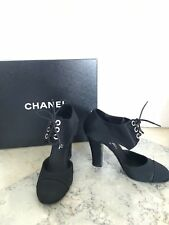 """NEW CHANEL Black """"Cinema"""" Mary Jane Lace Up Pumps Heels"""