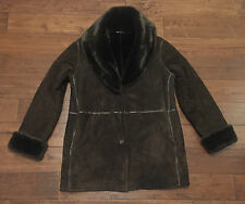 Marvin Richards Brown Suede Leather Winter Coat With Faux Fur Trim Women's M