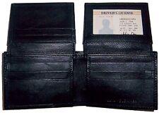 Men's Leather Wallet 11 Card 2 ID 2 Billfold  Black Bi-fold wallet cartera BNWT