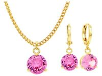 Authentic gold plated necklace earrings jewelry set sparkling pink gems gift box