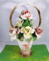 Nuova Capodimonte Porcelain Flower Basket Large Yellow Pink Roses Italy