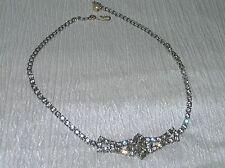 Vintage Silvertone Clear Rhinestone Center Flower Medallion Pendant Choker Neck