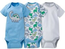 GERBER BABY BOY Onesies Bodysuits Variety 3-Pack Baby Shower Gift - Blue - DINO