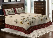 Indian Rajasthani Traditional Design King Cotton Bed Sheet Two Pillow Covers