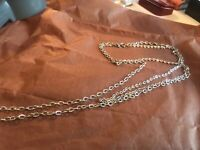 """Vintage Jewelry Signed SARAH COVENTRY Silver Tone 36"""" Long Double Chain Necklace"""