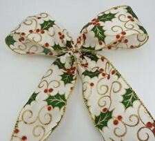 Christmas Wired Satin Ribbon Holly Berry  Width 60mm