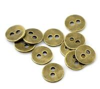 12PCS Bronze Metal Round Two Hole Flat Buttons Sewing Craft DIY Shirt 11MM