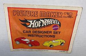 Vintage 1969 Mattel Hot Wheels Car Designer Picture Maker Toy Instructions ONLY