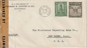 1943 Guatemala IIWW censored cover from Guatemala City to New Heave,Conn USA