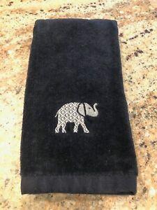 "NEW WITHOUT TAGS ""tt & LOLA"" Fingertip Black Towels w/Silver Elephants"