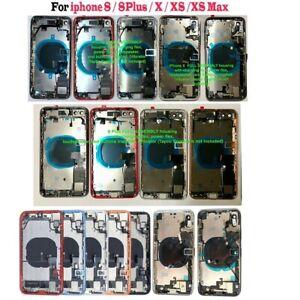 iPhone 8 8Plus X XS XS Max XR Back Rear Glass Frame Battery Door Housing W/LOGO