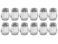(Set of 12) 6-Ounce Glass Cheese Shakers with Slotted Tops, Swirl Glass