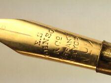 ANTIQUE E.S. JOHNSON & CO. NYC 14K Gold NIB  BANDED Tiger Eye Handle  DIP PEN