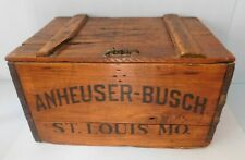 Antique~ ANHEUSER BUSCH Budweiser Beer Wood Wooden Box Crate Case w/ Hinged Lid