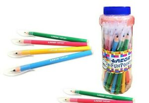 25x Linc Lazor Funpoint Ball Pen JAR BLUE | Smooth writing | Multi-colour Body