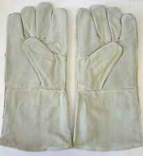 """13"""" Leather Gauntlet Gloves for Welding Construction or Heavy Duty Shop Work New"""
