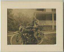 VINTAGE PHOTO OF INDIAN BIKE/MAN RIDING MOTORCYCLE W/ MATTE