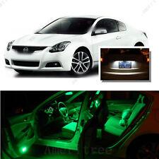 For Nissan Altima Coupe 2008-13 Green LED Interior Kit + White License Light LED
