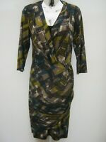 Per Una Knee Length Wrap Front Patterned Pencil Dress Size 12