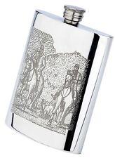 Pewter horses hunting scene, 177.4ml oblong hip flask & funnel, fox drag hounds
