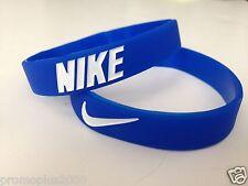 Nike Sport Baller Band Silicone Rubber Bracelet Wristband blue w/white logo