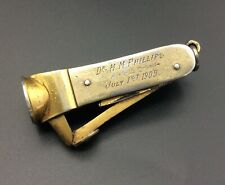 More details for unusual antique siver gilt whittling cigar cutter folding 2 tools dated 1907