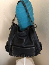 Michael Kors Black Pebbled Leather Studded Hobo Shoulder Tote Handbag