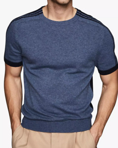 Reiss Goldmann Stripe Detail Knit Short Sleeve Top Blue Sz L $215 BNWT Alpaca