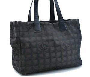 Authentic CHANEL New Travel Line Shoulder Tote Bag Nylon Leather Black E1830