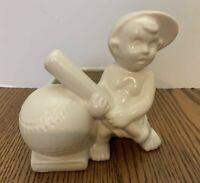 Vintage Haeger USA White Ceramic Baby Boy Planter Playing Baseball Nursery