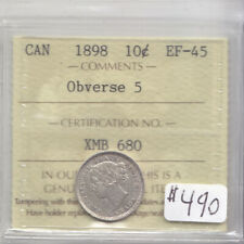 1898 OBV 5 CANADIAN 10 CENT COIN ICCS CERT EF45