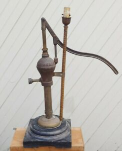 """Vtg Antique Home Made GEM Water / Well Pump Table Lamp - 28"""" Tall - Unique Find!"""