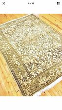 "Antique Cr1900-1939s 5'x6'8"" Gold-Ivory Colors Wool  Pile Ushak Rug"