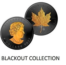 1 OZ SILVER CANADIAN MAPLE LEAF COIN $5 BLACK RUTHENIUM-24KT BLACKOUT COLLECTION