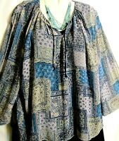 Womens Blouse Top Blue Yellow Long Sleeves Boho Size XL In Moda