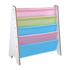 Wood Kids Bookcase Book Shelf Sling Storage Rack Organizer Display Holder White