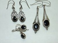 Vintage Estate Sterling Silver Black Enamel Onyx Drop Dangle Pierced Earrings