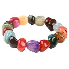 Women Natural Colorful Stones Agate Bracelet Healing Crystal Beads Bangle Chain