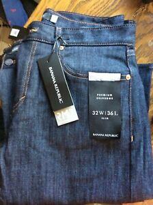 Banana Republic Slim Premium Selvedge Jeans 32x36 NWT New Rapid Movement Blue