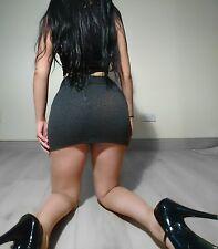 Grey and black leopard print short mini skirt size 8