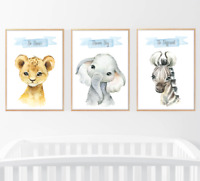 Safari Jungle Animals Set of 3 Baby Nursery Print Set Wall Art Kids Bedroom Home