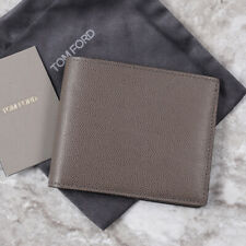 Tom Ford Gray Pebble Grained Leather Bi-Fold Wallet NWT