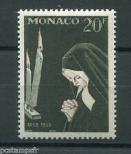 MONACO 1958, timbre 499, APPARITIONS LOURDES, neuf**, BERNADETTE, VF MNH STAMP