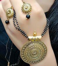 Bollywood Ethnic Black Wedding Love Mangalautra Mala Gold Plated Necklace India