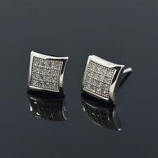 7.5mm Clear Cz Cubic Zirconia Square Stainless Steel Men Ear Stud Earring Punk