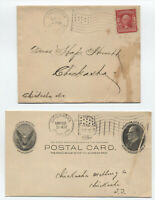 1906-7 pair of Chickasha Indian Territory flag cancels [y3748]